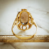 Showy Vintage Date 1972 Smokey Quartz Dress Ring