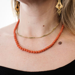 Antique Georgian Natural Deep Orange Coral Bead Necklace
