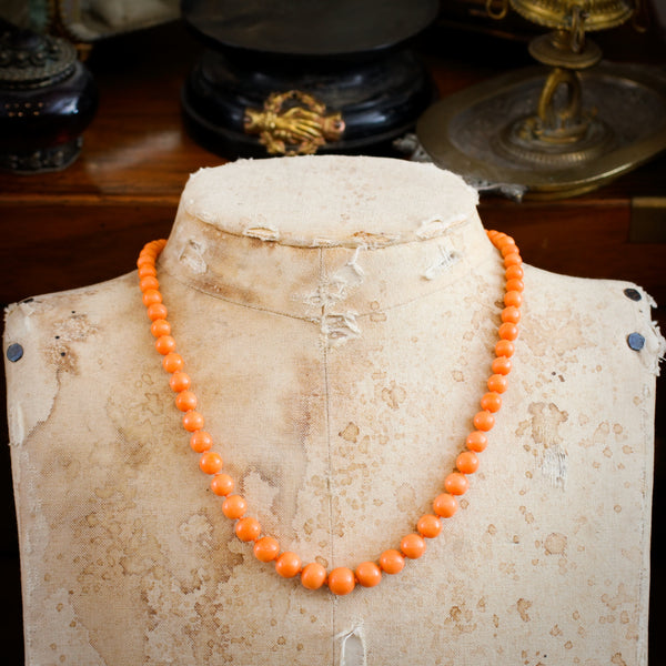 Blissful Victorian Natural Peach Hued Coral Bead Necklace