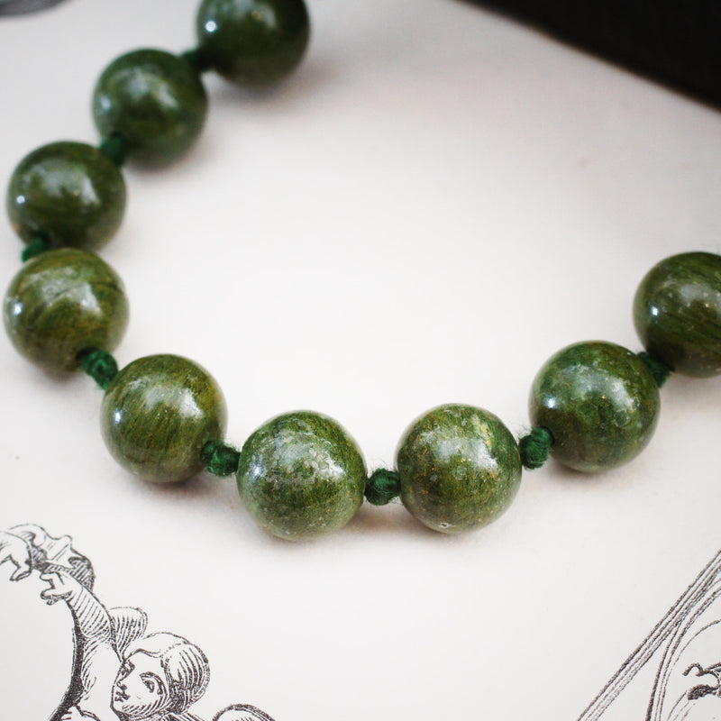 Stylish Strand of Vintage Dark Green Marble Beads