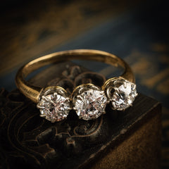 Antique Vintage Trilogy Diamond Engagement Ring