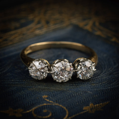 Exquisitely Beautiful Antique Edwardian Diamond Trilogy Engagement Ring