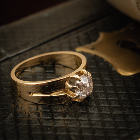 Adorable Antique Cushion-cut Diamond Engagement Ring