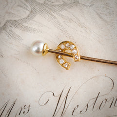 Antique Lucky Horseshoe Diamond and Natural Pearl Stick Pin