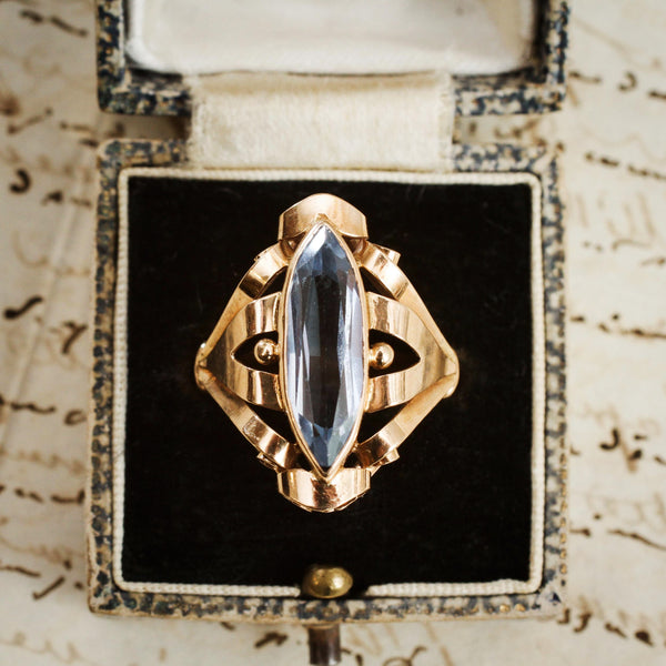 A Fanciful Vintage Blue Topaz Cocktail Dress Ring