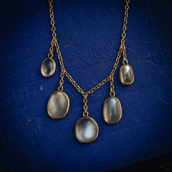Hypnotic! Mesmerising Antique Indian Blue Moonstone Necklace