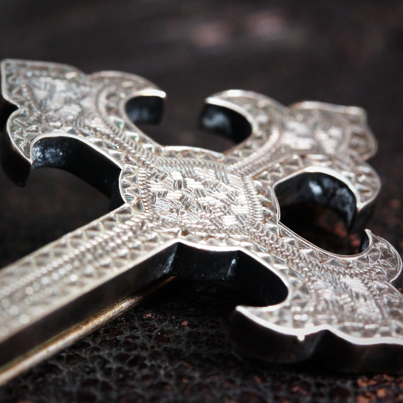 Antique Gothic Revival Silver Cross Brooch