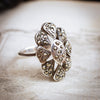 Circa 1950's Silver & Marcasite Floral Cluster Ring