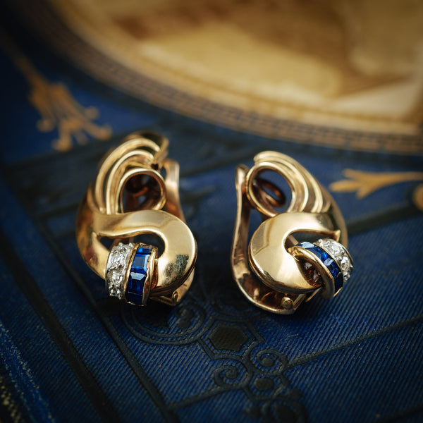 Uber-Luxe Vintage Art Deco 'Cocktail Hour' Sapphire and Diamond Earrings