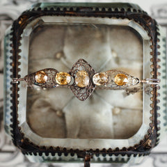 Lacy Antique Edwardian Silver Citrine Bracelet
