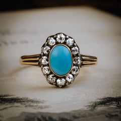 Enchanting and Rare Early Victorian Turquoise and Diamond Ring
