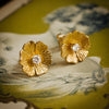 Vintage 1970's Modernist Dog Rose Diamond Earrings
