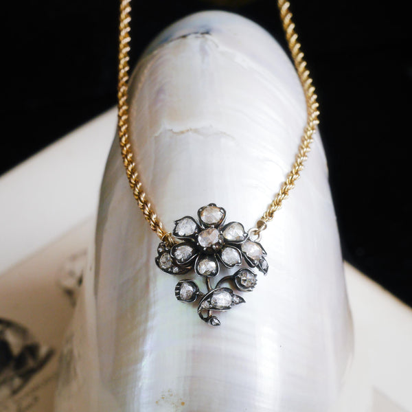 Precious Antique Georgian Floral Rose Cut Diamond Necklace