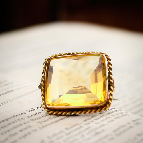 A Magnificent Antique Specimen Citrine Brooch