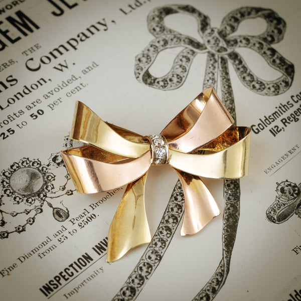 Jaunty Vintage Continental 1940's 14ct Gold and Diamond Bow Brooch