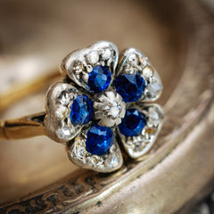 Antique Sapphire Diamond Flower Cluster Ring