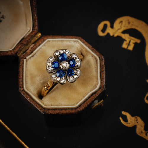Antique Sapphire Diamond Pansy Flower Cluster Ring