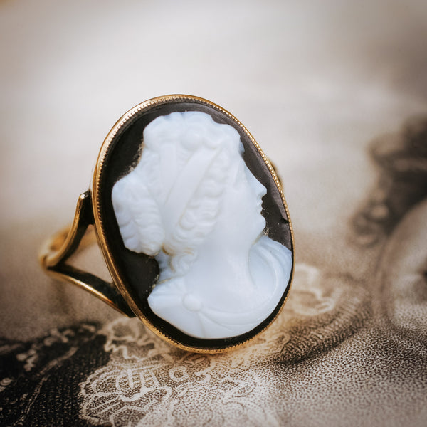 Classical Antique Roman Style Hardstone Cameo Ring