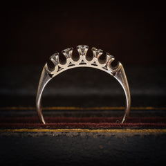 An Unusual Vintage 1960's Five-Stone Diamond Half Hoop Ring