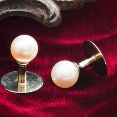 Supreme Quality Vintage French Pearl Dress Stud Pair