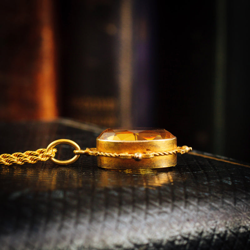 Superb Quality Antique Victorian 15ct Gold Citrine Cannetille Pendant and Chain