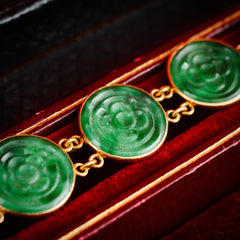 Rare and Awesome 22ct Gold Chinese Jade Collarette Necklace