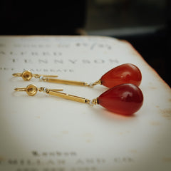 Antique 1920's Carnelian Drop Earrings