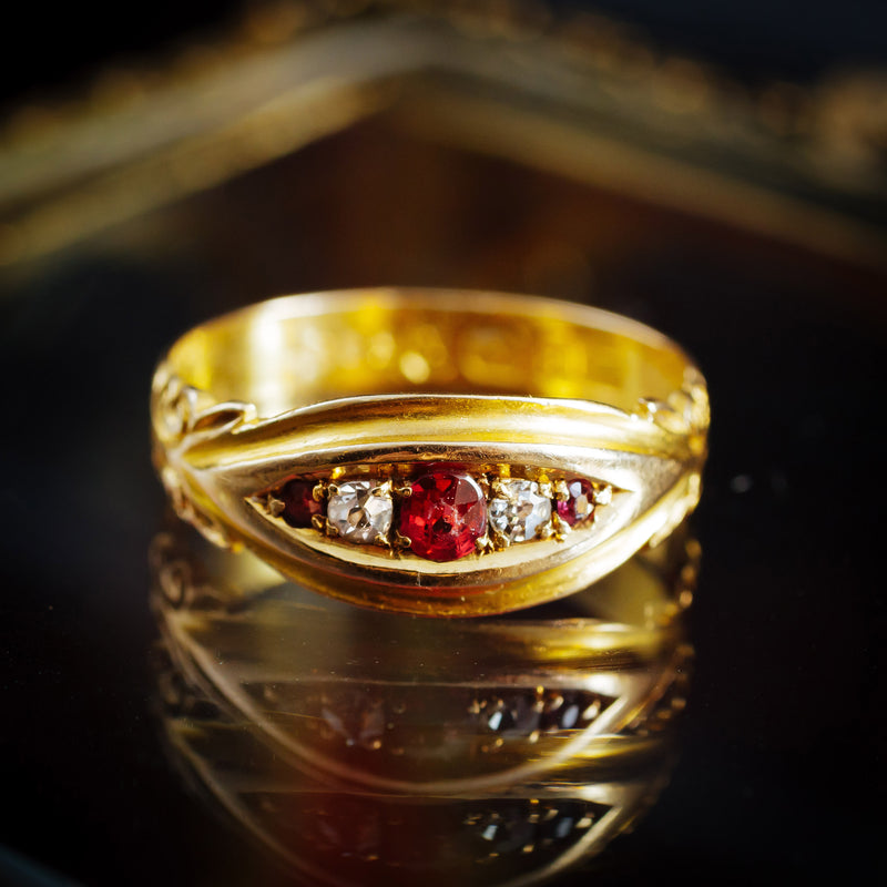 The Most Perfect Antique Date 1900 Ruby & Diamond Pinkie Ring