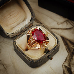 Extravagant Handmade Vintage Russian Verneuil Ruby Dress Ring
