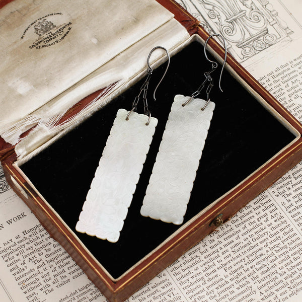 Antique Georgian Mother of Pearl Gaming Counter Earrings