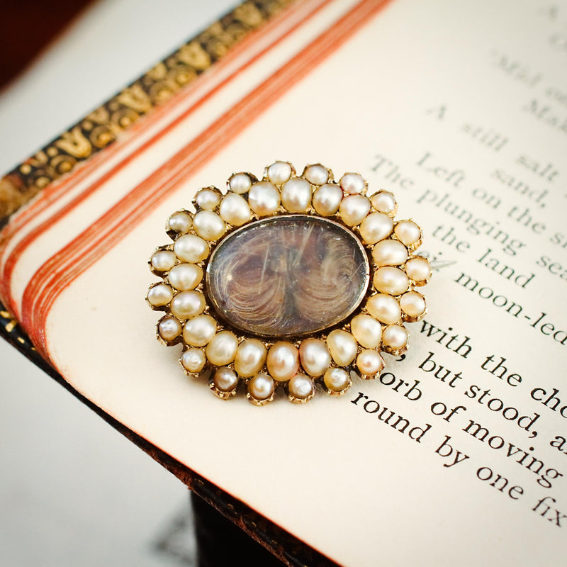 Darling Little Georgian Seed Pearl Fichu Pin Brooch