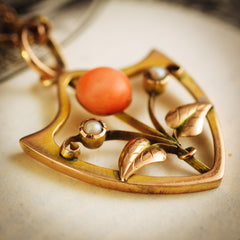 Antique Art Nouveau Edwardian Coral and Seed Pearl Pendant