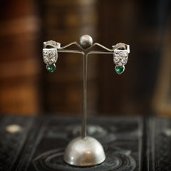 Art Deco Emerald & Diamond Stud Earrings