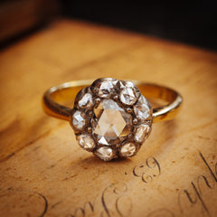 Antique Rose-cut Diamond Cluster Engagement Ring