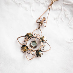 Ethereal Antique Edwardian Aquamarine & Seed Pearl Pendant