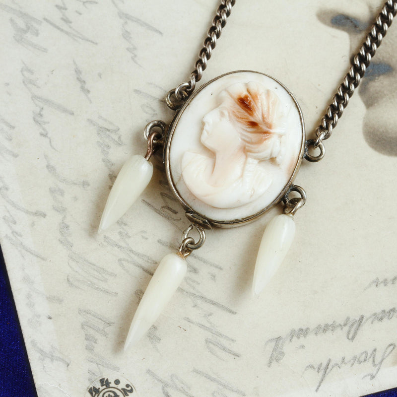 Antique Hand Carved Cameo Necklace