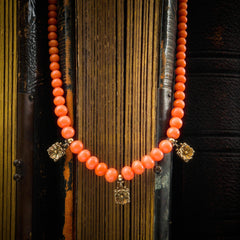 Antique Victorian Etruscan Revival Style Coral Necklace