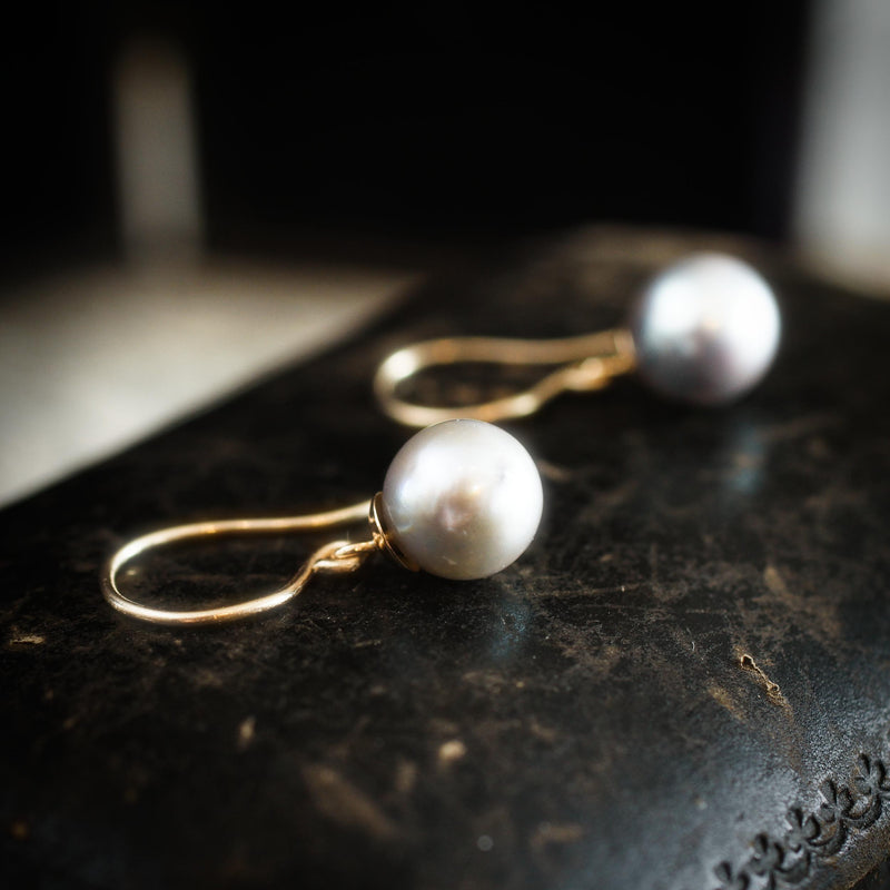 Vintage Blue/Grey Cultured Pearl Earring Drops