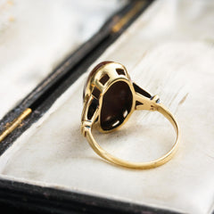 Mid Century 14ct Gold & Agate Ring
