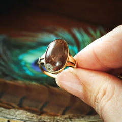 A Super Mid Century 14ct Gold Agate Statement Ring