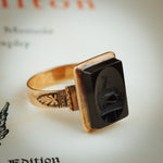 Unusual Circa 1900 Antique Deer Intaglio Ring