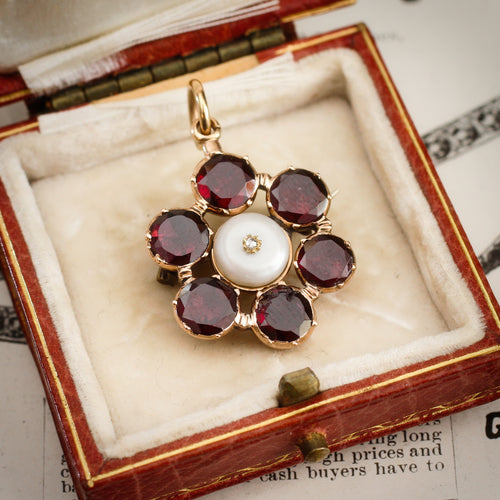 Georgian Flat-cut Garnet, Diamond & Natural Pearl Brooch/Pendant