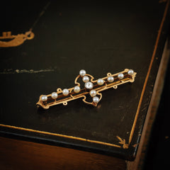 Antique Vintage Edwardian Pearl Diamond Brooch