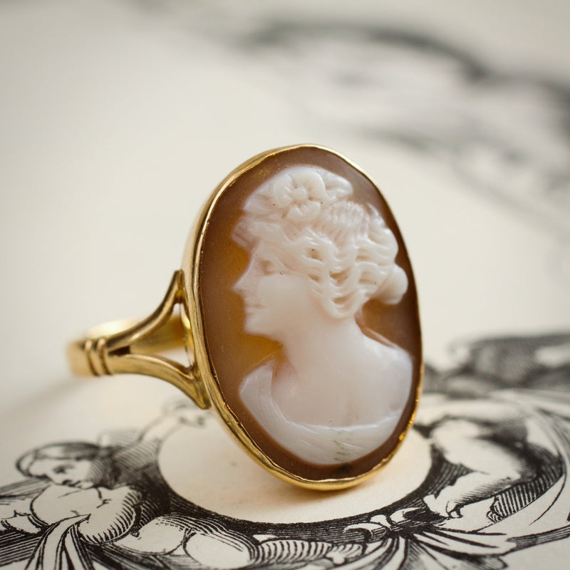 Romantic Antique Edwardian Portrait Shell Cameo