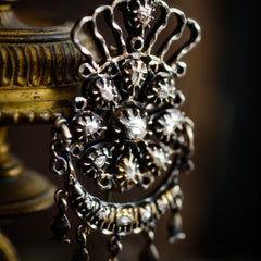 An Antique Continental Silver & Diamond 'Rainha' Brooch Pendant