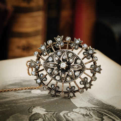 A Majestic Marquise-Shaped Antique Early Victorian Diamond Brooch