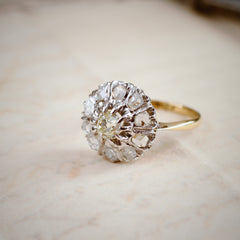 Vintage Mid Century Diamond Flower Cluster Ring
