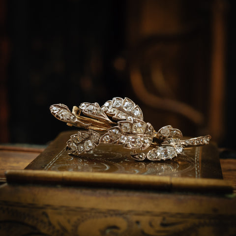 Antique Early Victorian Diamond Leaves Brooch
