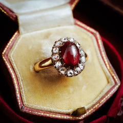 Opulent Antique Cabochon Carbuncle Garnet and Rose-cut Diamond Cluster Ring