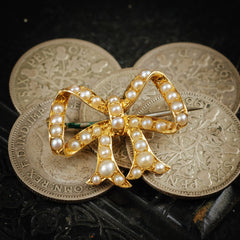 Antique Vintage Victorian Pearl Bow Ribbon Brooch